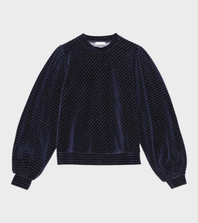 Velvet Lurex Sweatshirt Blue