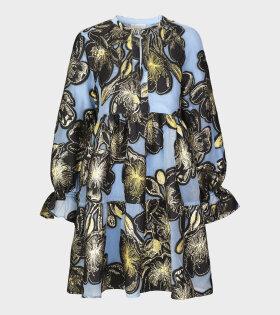Ivana Organza Dress Blue/Black/Gold