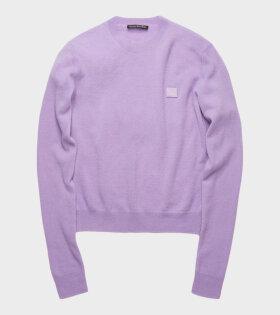 Acne Studios Kalon Face Sweater Lavender Purple - dr. Adams