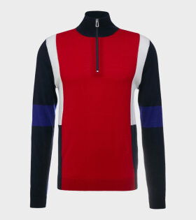 Mens Pullover Zip Neck Red