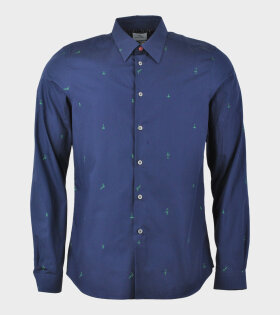 Green Detail Shirt Blue