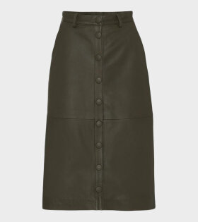 Remain Bellis Leather Skirt Green - dr. Adams