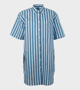 Acne Studios Daile Fil a Fil Stripe Shirt Dress Blue - dr. Adams