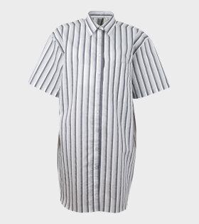 Aiayu Daile Fil a Fil Stripe Shirt Dress Grey - dr. Adams