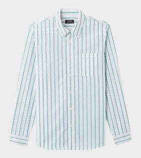 A.P.C Chemise Rami Shirt White/Green - dr. Adams