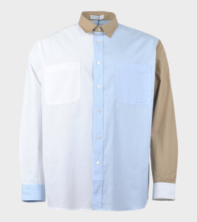 Colourblock Chest Pockets Shirt Blue