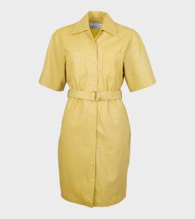 Remain Pirello Leather Dress Yellow - dr. Adams