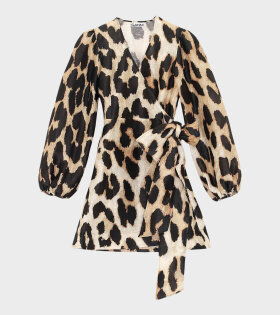 Ganni Silk Wrap Dress Leopard - dr. Adams