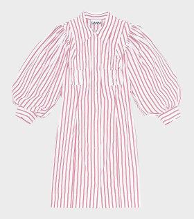 Ganni Stribe Cotton Mini Dress Red/White - dr. Adams