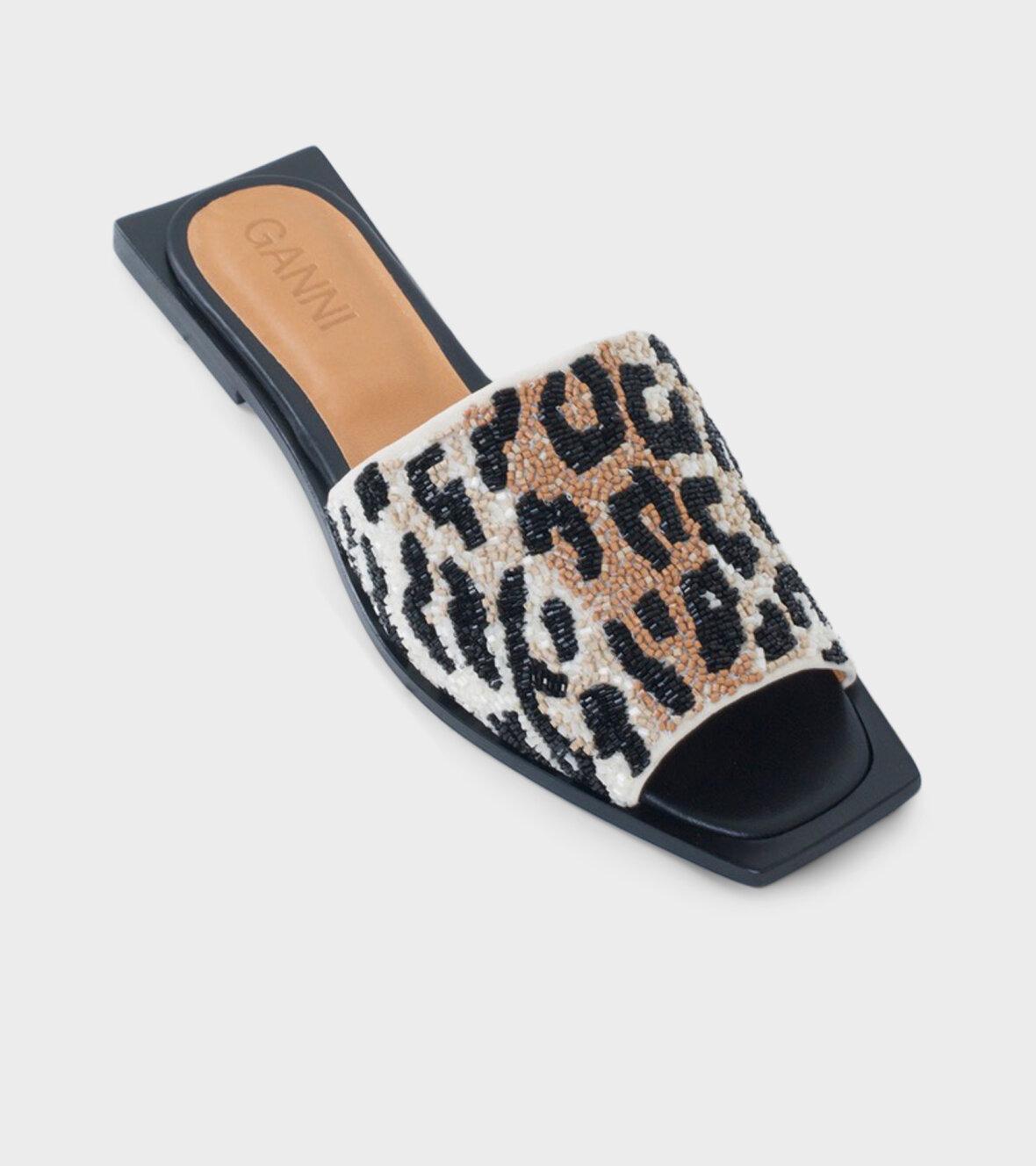 Ganni Slipper Sandals Leopard dr. Adams