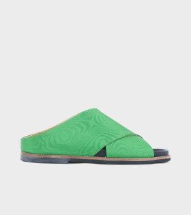 Ganni Flat Sandal Green - dr. Adams