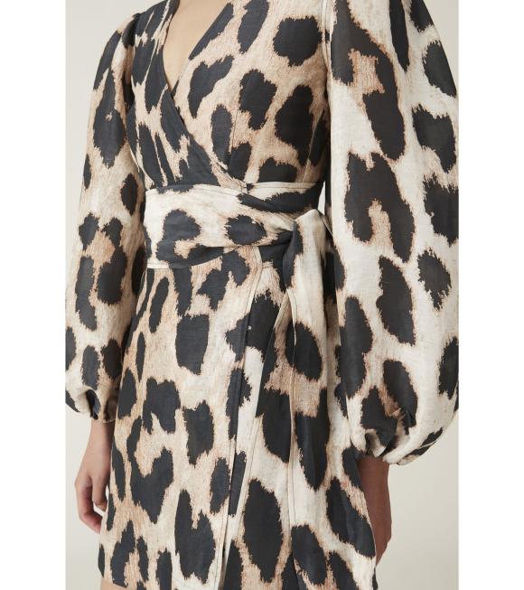 Ganni - Silk Wrap Dress Leopard