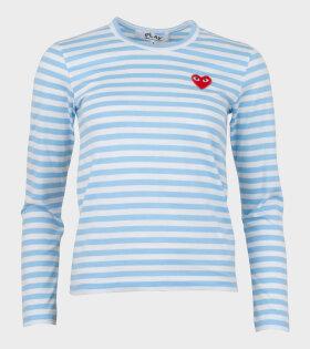 W Striped LS T-shirt Light Blue
