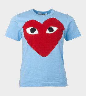 Red Big Heart T-shirt Blue