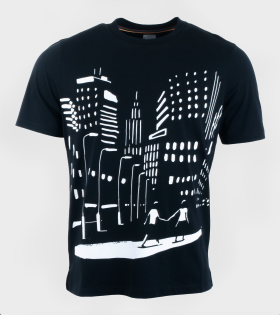 Gents T-shirt Night Scene Black