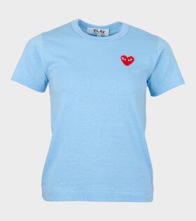W Red Heart T-shirt Blue