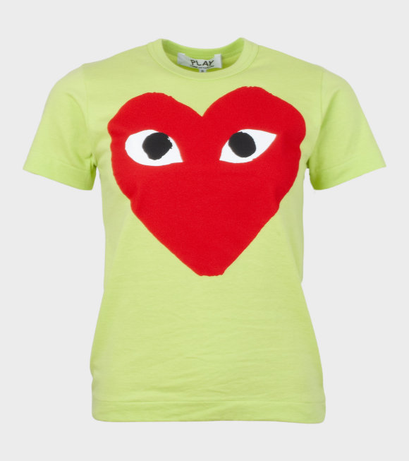 Comme des Garcons PLAY - W Red Big Heart T-shirt Lime Green