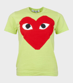 W Red Big Heart T-shirt Lime Green