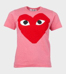 W Red Big Heart T-shirt Pink