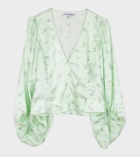 Silk Stretch Satin V-Neck Blouse Green