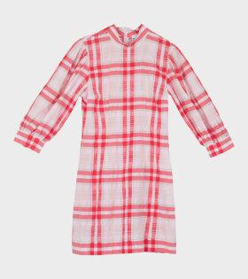 Seersucker Check Dress Red