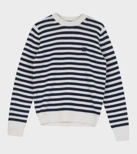 Kalon Stripe Face Sweater Navy