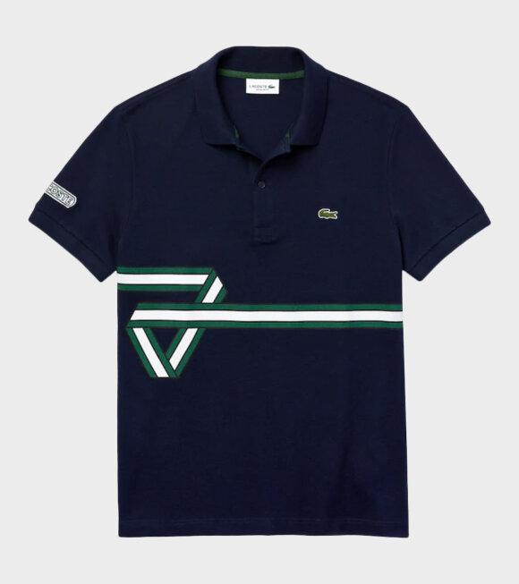 Lacoste - Stripe Print Polo Shirt Navy