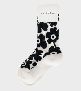 Marimekko - Aarni Unikko Ankle Socks White/Black