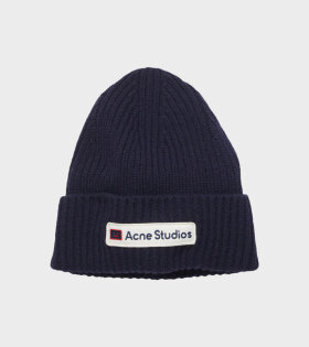 Logo Patch Wool Beanie Navy