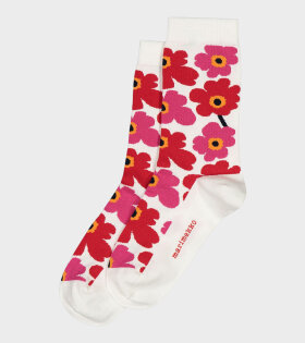 Marimekko - Hieta Ankle Socks White/Red