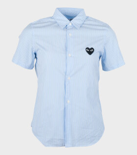 Comme des Garcons PLAY - W Black Heart Striped Shirt Blue