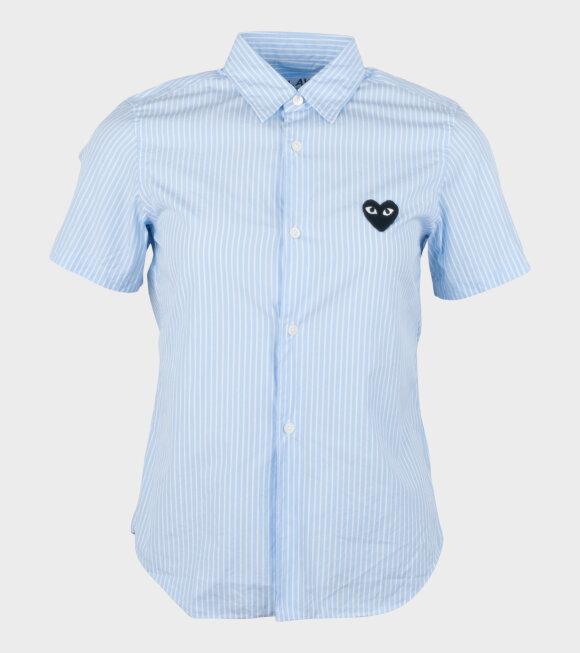 Comme des Garcons PLAY - W Black Heart Striped Shirt Blue
