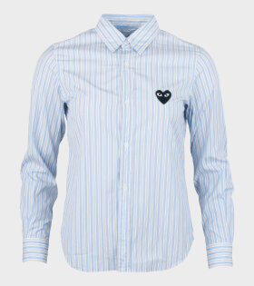 Comme des Garcons PLAY - W Black Heart Striped LS Shirt Blue