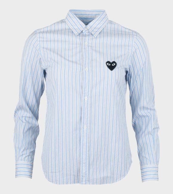 Comme des Garcons PLAY - W Black Heart Striped LS Shirt Blue