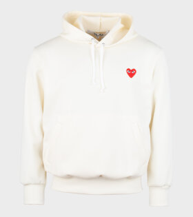 Comme des Garcons PLAY - M Red Heart Hoodie Beige