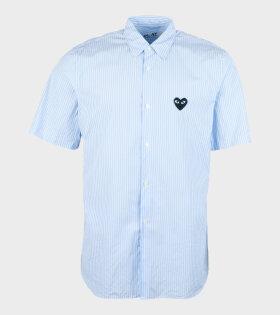 M Black Heart Striped Shirt Blue