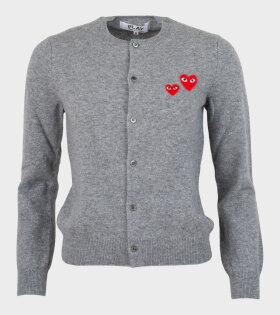 W Double Heart Cardigan Grey