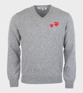 M Double Heart Knit Grey