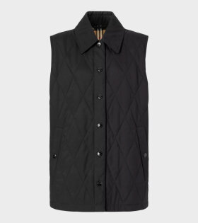 Diamond Quilted Gilet Black