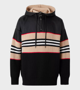 Burberry - Icon Stripe Rib Knit Hoodie Black