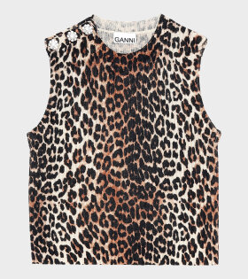 Leopard Button Vest Brown