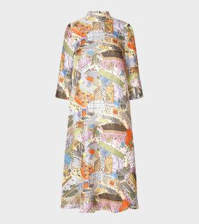 Dean Silk Twill City Dress Multicolor