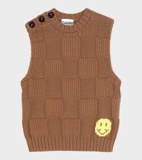Smiley Check Vest Brown