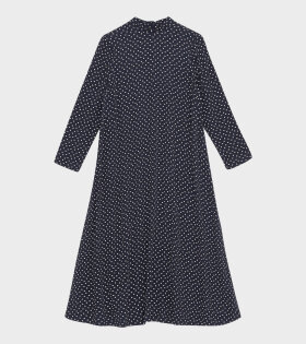 Ganni - Printed Crepe Dress Navy