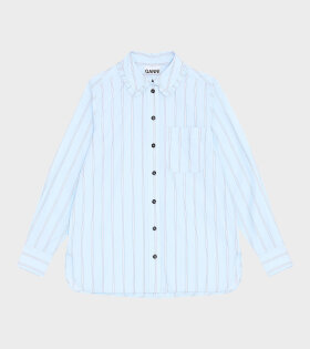 Ganni - Stripe Cotton Shirt Blue
