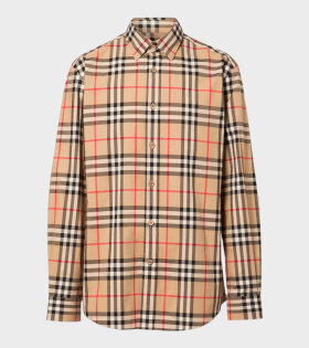 Burberry - Check Cotton Poplin Shirt Archive Beige