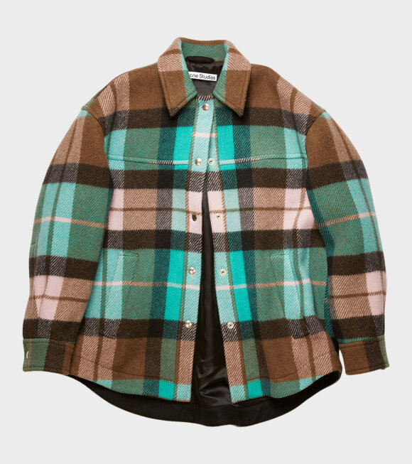 Acne Studios - Checked Overshirt Turquoise/Brown