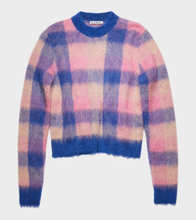 Acne Studios - Kanya Checked Knit Blue/Pink