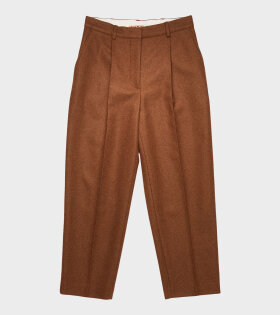 Tapered Wool-Blend Trousers Brown