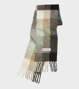 Large Check Scarf Green/Grey/Black